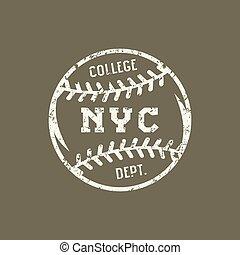 baseball, emblema, york, nuovo, squadra