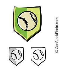 baseball, emblemat, tarcza, ilustracja, ikony