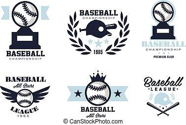 Baseball Emblems or Badges with Various Designs - Baseball...