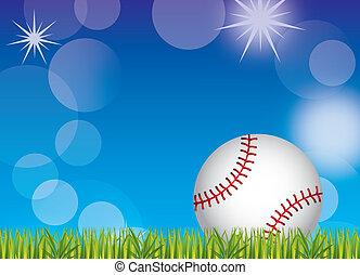 baseball ball over grass and sky background. vector...