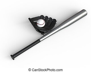 Baseball equipment - black glove - metal bat