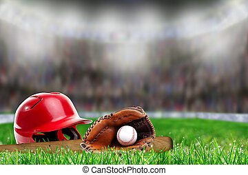 Baseball Equipment on Grass With Copy Space
