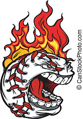 Baseball Face with Flaming Hair Vec
