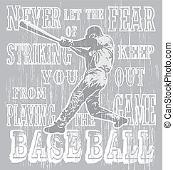 baseball fear strike - illustration for shirt printed and ...