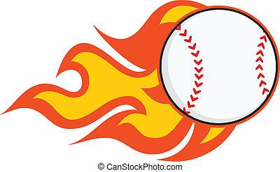 baseball, fiammeggiante