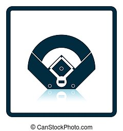 Baseball field aerial view icon. Shadow reflection design....