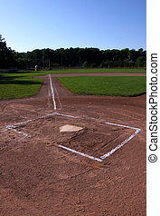 Baseball Field at Dusk - A wide angle shot of an unoccupied...