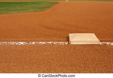 Baseball Field at First Base - View of a Baseball Field from...