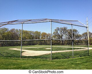 Baseball Field - Baseball Diamond and back catcher fence