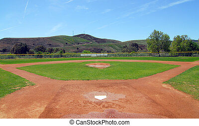 Baseball Field - baseball field, view from home plate to...