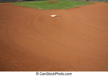 Baseball Field from Second Base - View of a Baseball Field...
