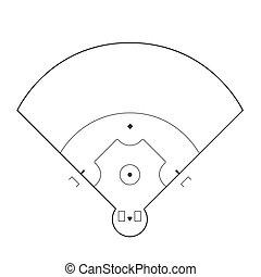 Baseball field illustration - Baseball field markup isolated...
