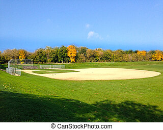Baseball field in early autumn