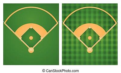Baseball field in two lawn designs illustration