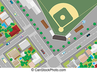 baseball field on the outskirts of, cartoon illustrations