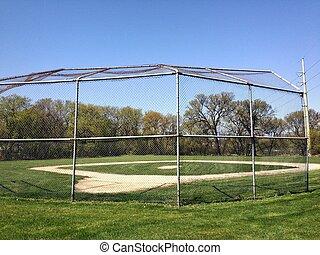 Baseball Field - Baseball Diamond and back catcher fence