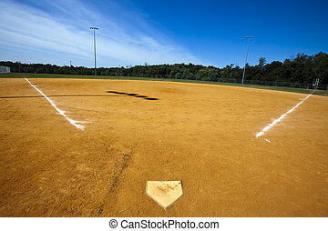 Baseball Field - Baseball field with green grass and lines.