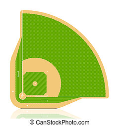 Baseball field - Vector. Detailed portrayal of grass.