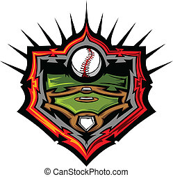 Baseball Field with Baseball Vector - Vector Template of a...