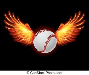 Baseball fiery wings