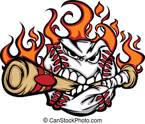 Baseball Flaming Face Biting Bat - Flaming Baseball Ball...