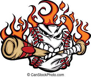 Flaming Baseball Ball Face Biting Bat Illustration Vector