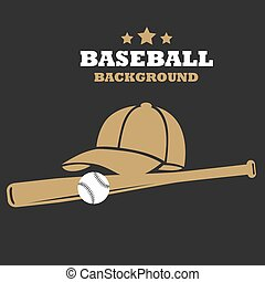 Baseball flat background with bat cap and ball template