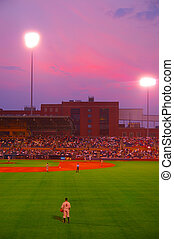 Baseball game at night, from center field