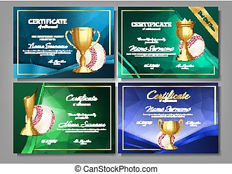 Baseball Game Certificate Diploma With Golden Cup Set Vector. Sport Award Template. Achievement Design. Honor Background. Elegant Document. Champion. Best Prize. Winner Trophy. Template Illustration