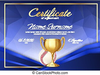 Baseball Game Certificate Diploma With Golden Cup Vector....