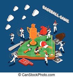 Baseball Game Isometric Composition - Baseball game...