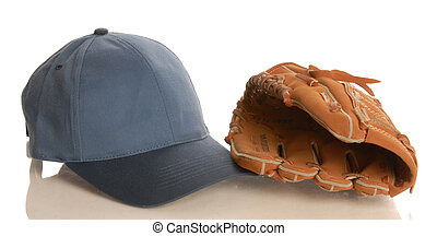 baseball glove and hat isolated on white background