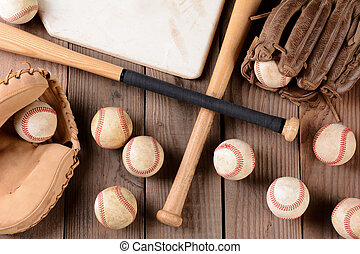 Baseball Gear on Rustic Wood Surface