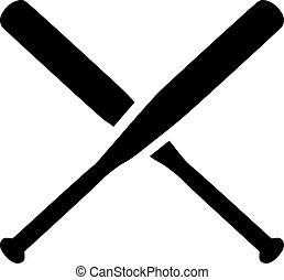 baseball, gekreuzt, fledermäuse
