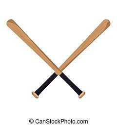 baseball, gekreuzt, fledermäuse, heiligenbilder