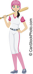 Baseball Girl - Illustration of a Teenage Girl Holding a...