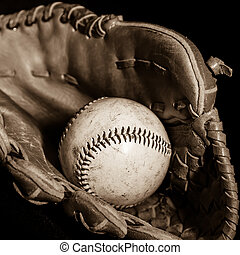 Baseball Glove and Ball in Sepia