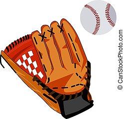 Baseball glove and ball vector flat illustration