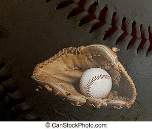 Baseball Glove and Ball with Ball Background