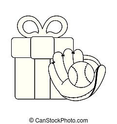 baseball glove and ball with gift box black and white