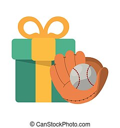 baseball glove and ball with gift box