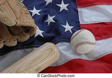Baseball, Glove and Bat with American Flag