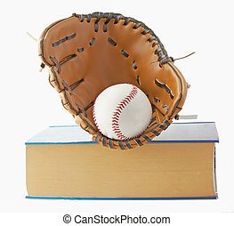 Baseball, glove and book