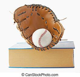Baseball, glove and book