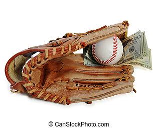 baseball glove and cash