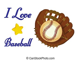 Baseball Glove Ball I love Baseball Illustration stock photo...