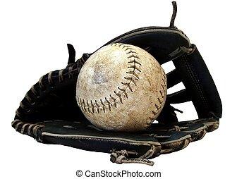 Baseball glove; ball