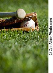 Baseball Glove, Bat and Ball