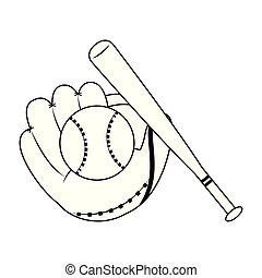 Baseball glove bat and ball black and white