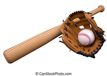 Baseball bat, ball and glove isolated over white